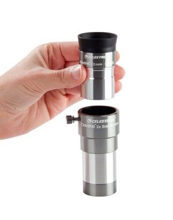 Altta barlow lens. Göz merceği bunun üzerine eklenerek gözlem yapılır.