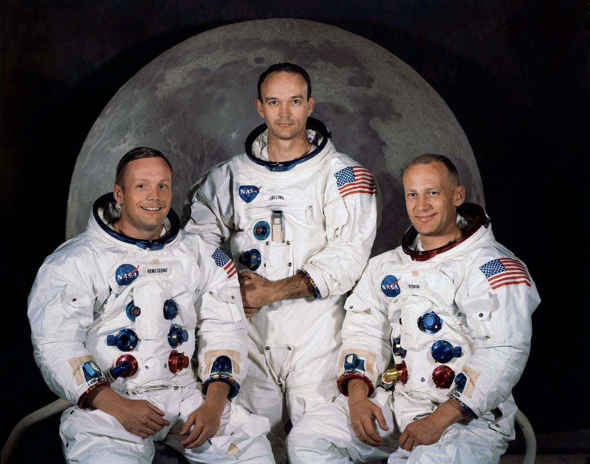 Apollo 11 mürettabatı. Soldan sağa; Neil Armstrong, Michael Collins ve Buzz Aldrin