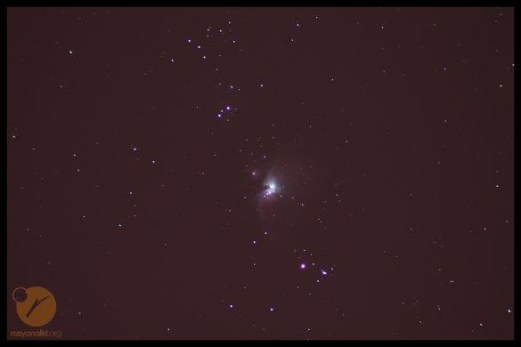 Uzun pozlama sonucu kameraya düşen ham Orion Bulutususu görüntüsü