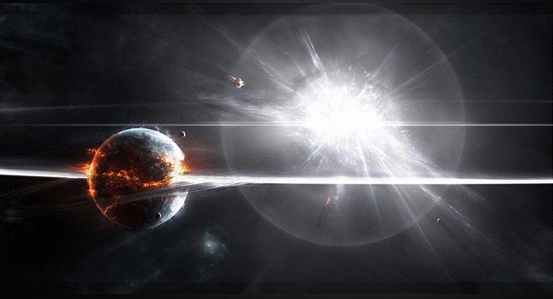 explosion white luminous