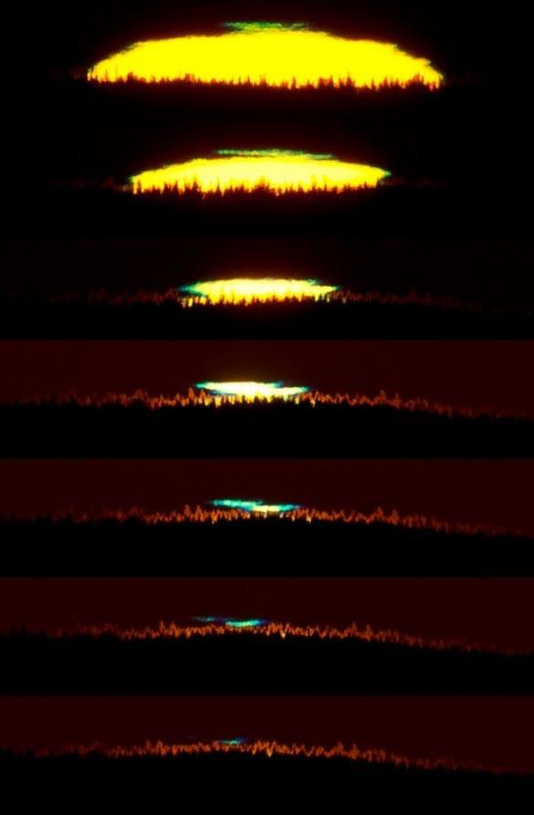 APOD (Astronomy Picture of the Day) olmuş bir yeşil parlama fotoğrafı.