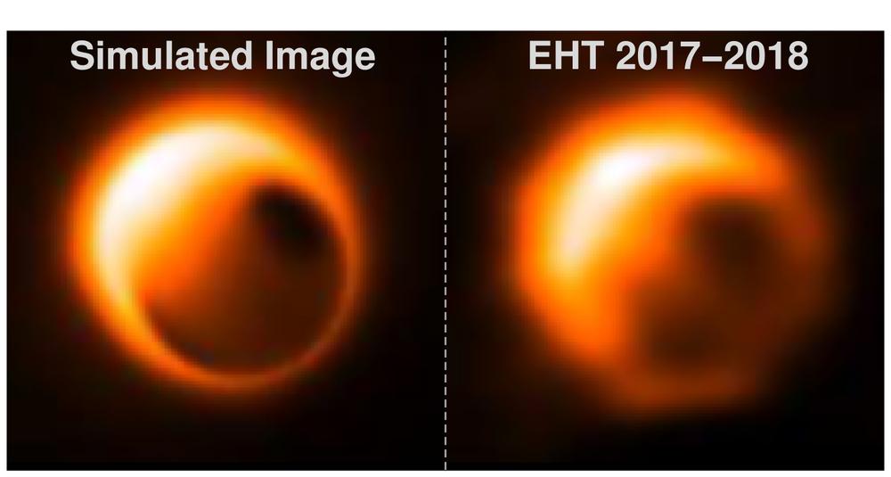 Şekil 2. Galaksimizin merkezindeki Sgr A* karadeliğinin simüle edilen (solda) ve olay ufku teleskobu ile beklenen görüntüsü.