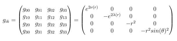 metric tensor schwarzschild matrix