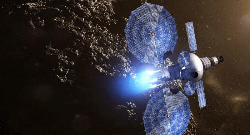 Sanatçı gözünden bir asteroidin üzerinde Güneş enerjisi ile itilen uzay aracı. Telif: NASA