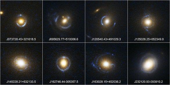 Bazı Einstein halkası örnekleri. Fotoğraf: SLACS