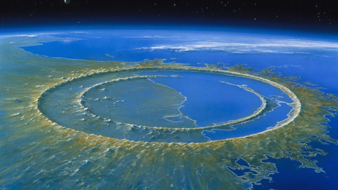 Şekil 2. Yucatan yarım adasındaki Chicxulub kraterinin 66 milyon yıl önce neye benzediğinin bir canlandırması.