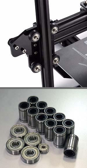 Üstte Tarantula'nın rulman tekerlekleri. Altta da lineer ve standart tipte rulmanlar (bearings).