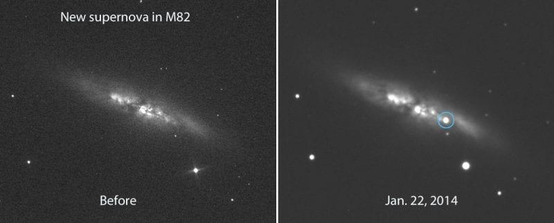 M82 gökadasında gerçekleşen süpernova patlaması