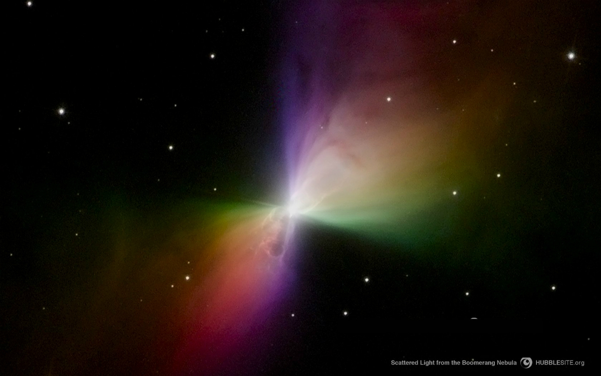 Hubble Uzay Teleskobu tarafından güneş gözlüklerindeki polarize filtreye benzer bir filtre ile çekilmiş Bumerang Bulutsusu fotoğrafı