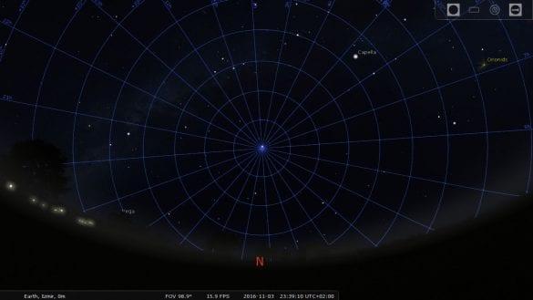 Kuzey yarıkürenin kutup yıldızı Polaris, Dünya'nın dönüş ekseni doğrultusuna denk gelir. Fotoğraf Stellarium programından alınmıştır. Görülen çizgiler, ekvatoryal koordinat sistemi olduğundan, kutup noktası, kutup yıldızı yakın bir şekilde görülmektedir.