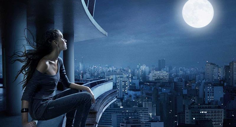 girl moon night balcony city loneliness