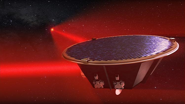 eLISA interferometreleri LISA Pathfinder denemesinin ardından Dünya yörüngesine gönderilecek ve kütle çekim dalgaları aranacak. (https://www.elisascience.org/)