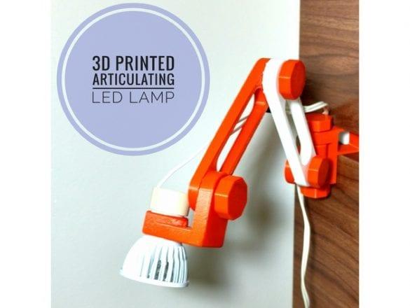 Tamamen 3D yazıcıyla üretilmiş bir masa lambası. Referans: https://www.thingiverse.com/thing:2505394
