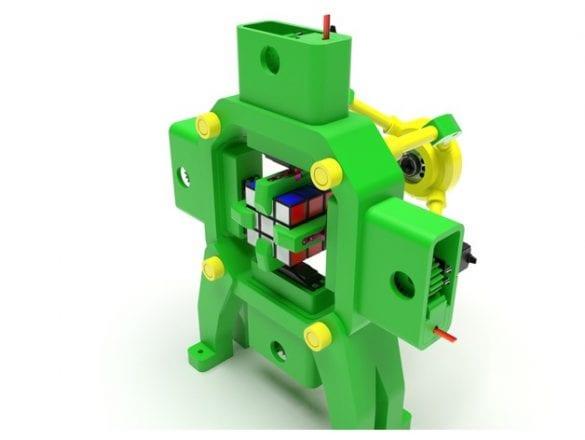 3D yazıcıyla yapılmış bir Rubik küp çözücü. Referans: https://www.thingiverse.com/thing:2471044