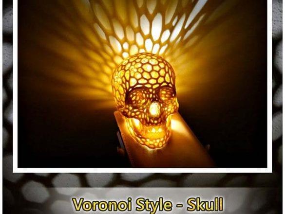 3D yazıcıyla yapılmış kuru kafa gece lambası, voronoi desenli. Referans: https://www.thingiverse.com/thing:518748